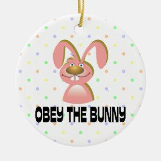 Obey The Bunny Ceramic Ornament