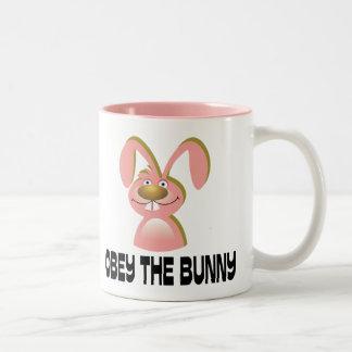 Obey the Bunny Two-Tone Coffee Mug