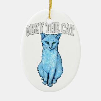 Obey the Cat Ceramic Ornament