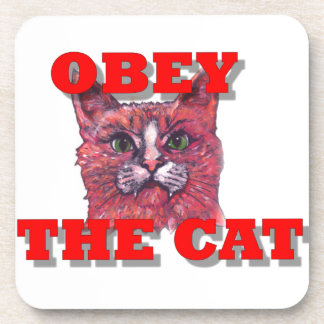 Obey the Cat Drink Coaster