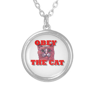 Obey the Cat Silver Plated Necklace
