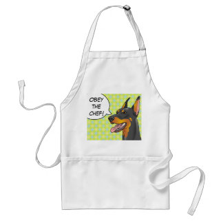 Obey the Chef Hipster Doberman Apron