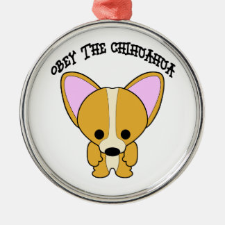 Obey The Chihuahua Metal Ornament