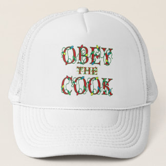 Obey the Cook Saying Holiday Lights Trucker Hat