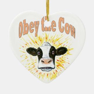 Obey the Cow Ceramic Ornament