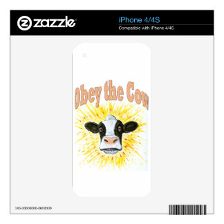 Obey the Cow iPhone 4 Decal