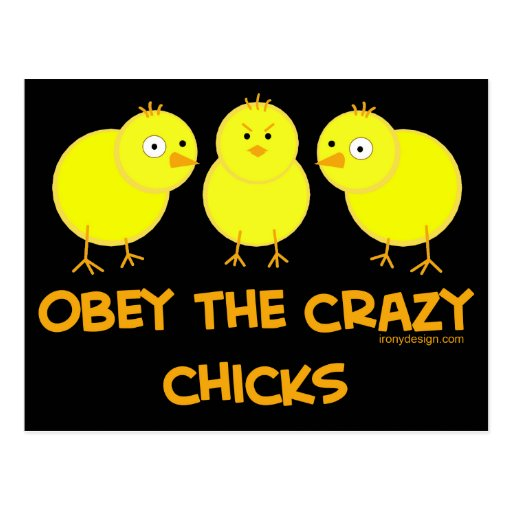 Obey The Crazy Chicks Postcard