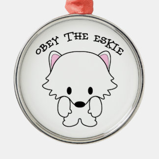 Obey The Eskie Round Metal Christmas Ornament
