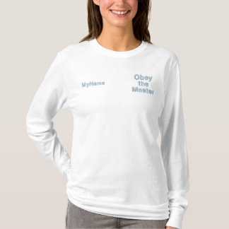 Obey the Master Dog Trainer Light Blue Thread Embroidered Long Sleeve T-Shirt