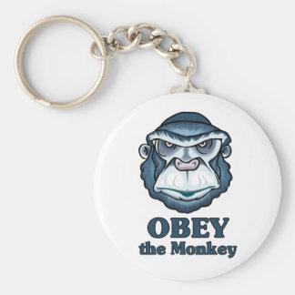Obey the Monkey Basic Round Button Keychain