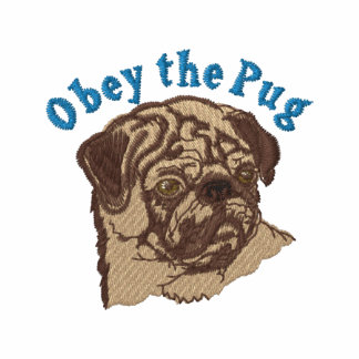 Obey The Pug 2 - Blue Emrboidered Tees