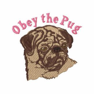Obey The Pug 2 - Pink Embroidered Sweatshirt, Tees Hoodie