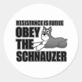 Obey The Schnauzer Classic Round Sticker