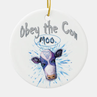 Obey the Telepathic Cow Ceramic Ornament