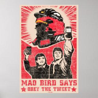 Obey the Tweet Twitter Red Mao Bird Poster