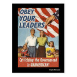 Obey Your Leaders Propaganda Post Cards