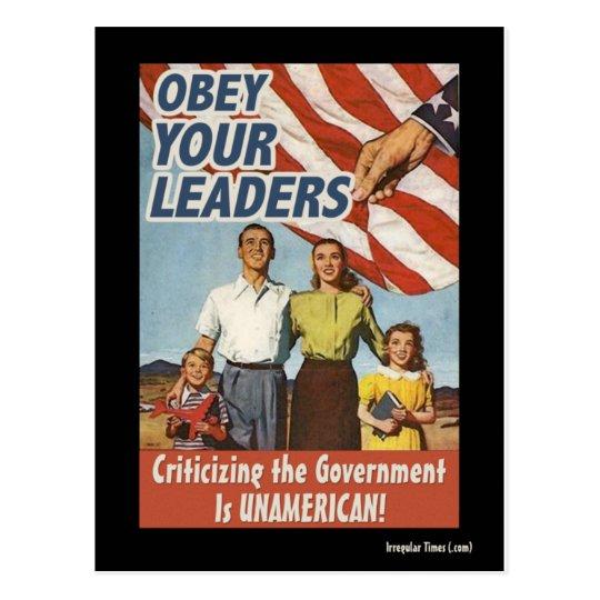 Obey Your Leaders Propaganda Postcard