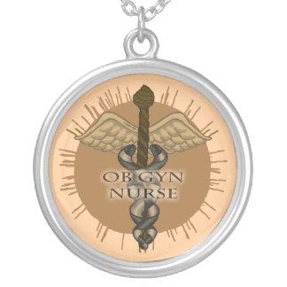 ObGyn Nurse Caduceus Silver Plated Necklace