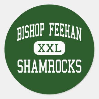 Obispo Feehan - tréboles - alto - Attleboro Pegatina Redonda