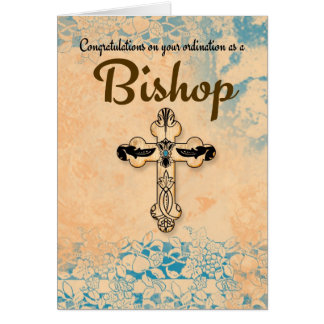 Obispo Ordination In Parchment de la enhorabuena Tarjeton