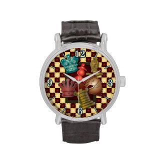 Obispo Pawn del caballero del rey reina del diseño Reloj