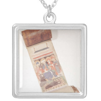 Obituary scroll, 1406 silver plated necklace