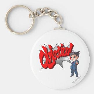 Objection! Phoenix Wright Chibi Basic Round Button Keychain