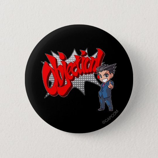 Objection! Phoenix Wright Chibi Button