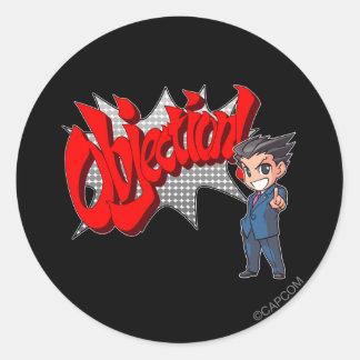 Objection! Phoenix Wright Chibi Classic Round Sticker
