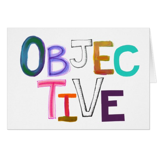 Objective rational fair scientific legal word art card