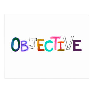 Objective rational fair scientific legal word art postcard