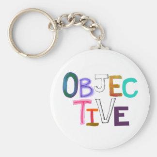 Objective scientific legal word art fair unbiased basic round button keychain