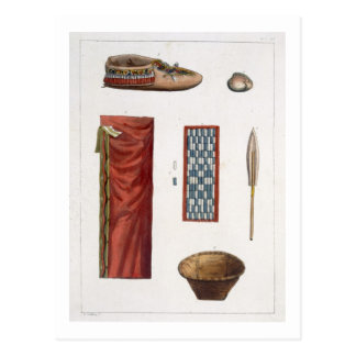 Objects belonging to Canadian Indians (colour engr Postcard