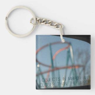 Objects in mirror keychain