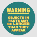 Objects In Pants Round Stickers