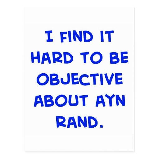objetivo sobre Ayn Rand Tarjetas Postales