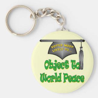 Objeto a la paz de mundo llavero redondo tipo pin
