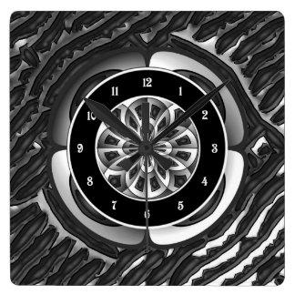 Objeto del metal reloj cuadrado