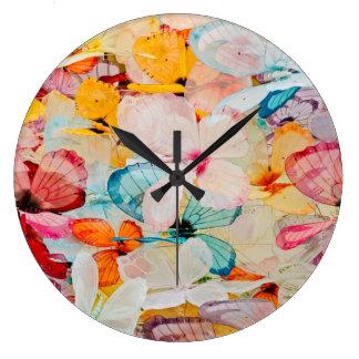 Objeto expuesto de la mariposa reloj redondo grande