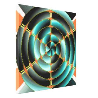 Objeto radial abstracto impresión en lienzo estirada