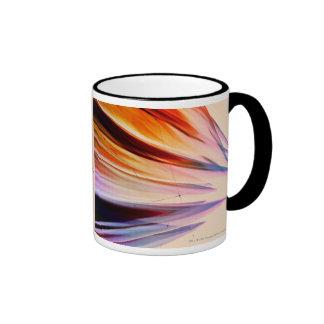 Objetos abstractos coloridos contra blanco taza de dos colores