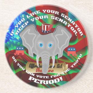 Objetos de recuerdo del republicano de la política posavasos de arenisca