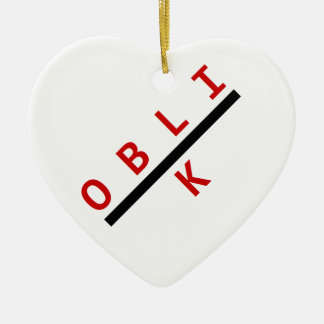 oblik red Double-Sided heart ceramic christmas ornament