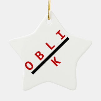 oblik red Double-Sided star ceramic christmas ornament