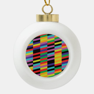 Oblique Colorful Lines Pattern Ceramic Ball Christmas Ornament
