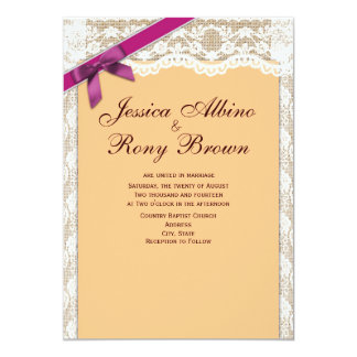 Oblique Purple Ribbon with Lace and Natural Burlap 5x7 Paper Invitation Card