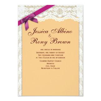 Oblique Purple Ribbon with Lace Wedding Invitation