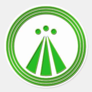 OBOD Symbol Neon Green Round Stickers