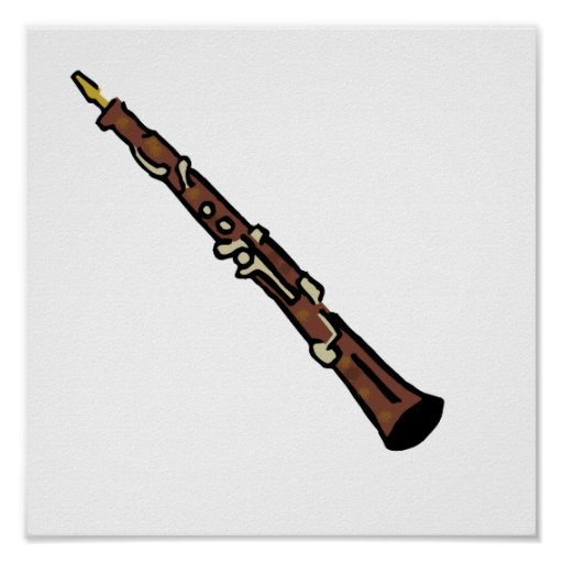 Oboe Abstract Brown Graphic Image Music Design Poster