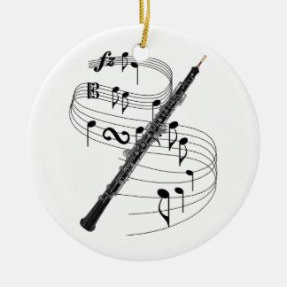 Oboe Adorno Navideño Redondo De Cerámica
